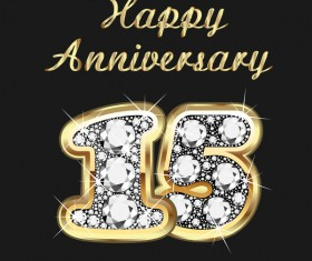 Happy 15 anniversary gold with diamonds background vector
