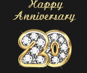 Happy 20 anniversary gold with diamonds background vector
