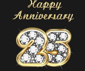 Happy 25 anniversary gold with diamonds background vector