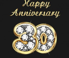 Happy 30 anniversary gold with diamonds background vector
