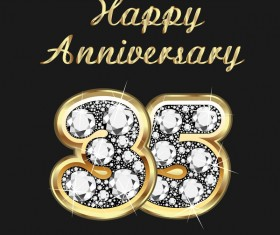 Happy 35 anniversary gold with diamonds background vector