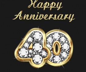 Happy 40 anniversary gold with diamonds background vector