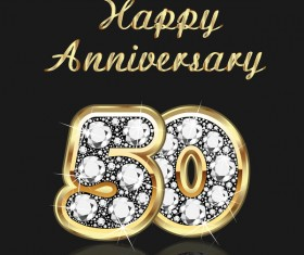 Happy 50 anniversary gold with diamonds background vector