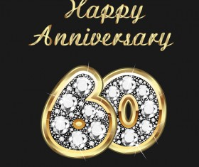 Happy 60 anniversary gold with diamonds background vector