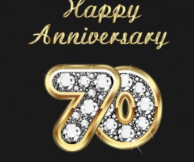 Happy 70 anniversary gold with diamonds background vector