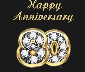 Happy 80 anniversary gold with diamonds background vector