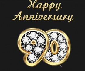 Happy 90 anniversary gold with diamonds background vector