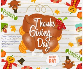 Happy Thanksgiving card with turkey vector 01