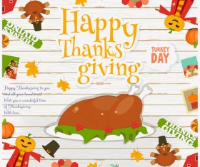 Happy Thanksgiving card with turkey vector 02