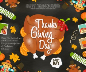 Happy Thanksgiving card with turkey vector 03