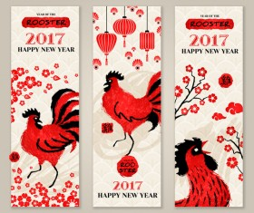 Happy new year 2017 banners with rooster vector 01