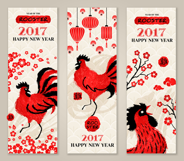 Happy New Year 2017 Banners With Rooster Vector 01 Free Download