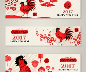 Happy new year 2017 banners with rooster vector 02