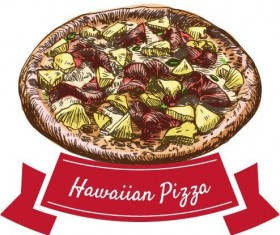 Hawaiian pizza vintage label vector