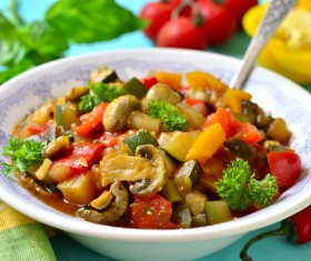 Healthy delicious tomatoes stewed mushrooms Stock Photo