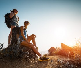 Hikers with backpack Stock Photo 02