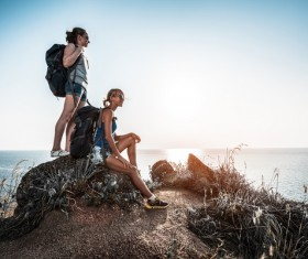 Hikers with backpack Stock Photo 03