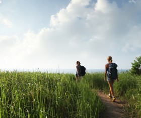 Hikers with backpack Stock Photo 28
