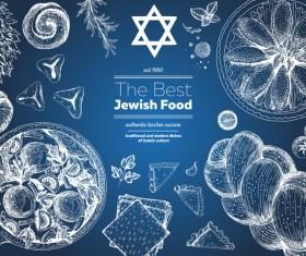Jewish food restaurant menu hand drawn vector 01