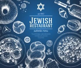 Jewish food restaurant menu hand drawn vector 02