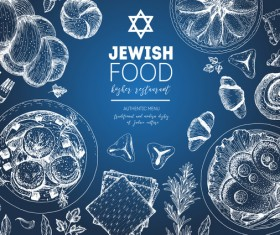 Jewish food restaurant menu hand drawn vector 04