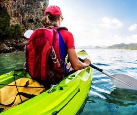 Kayaking woman exercising HD picture