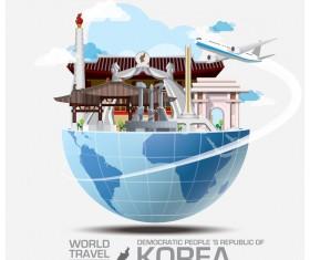 Korea travel vector template 02