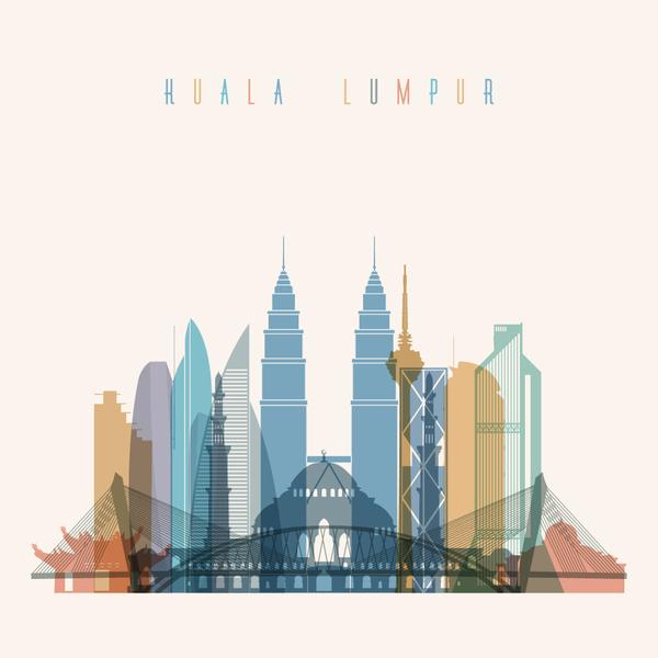 Kuala Lumpur building vector illustration