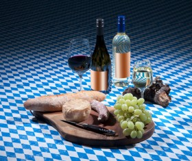 Lattice tablecloth wines and cheese Stock Photo