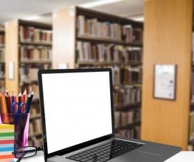 Library Computer pencil case Stock Photo