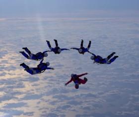 Limit parachuting aerial modeling Stock Photo 01