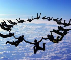 Limit parachuting aerial modeling Stock Photo 02
