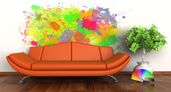 Living Room With Sofa And Graffiti On The Wall Background HD Picture