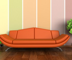Living room with sofa and warm tones on wall background HD picture 01