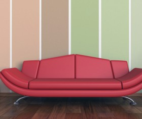 Living room with sofa and warm tones on wall background HD picture 02