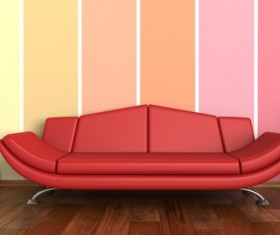 Living room with sofa and warm tones on wall background HD picture 03