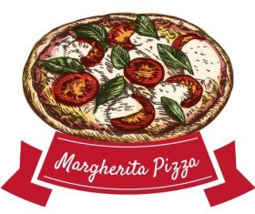 Margherita pizza vintage label vector