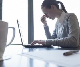 Massage Eye Female Laptop Stock Photo