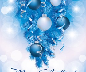 Merry christmas cards with oaper tapes and baubles vector