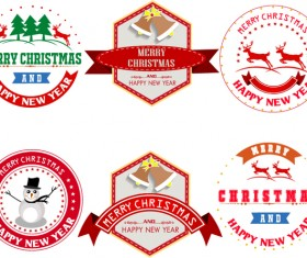 Merry christmas labels with badge vector