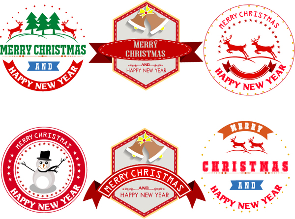 Merry christmas labels with badge vector - Vector Christmas ...