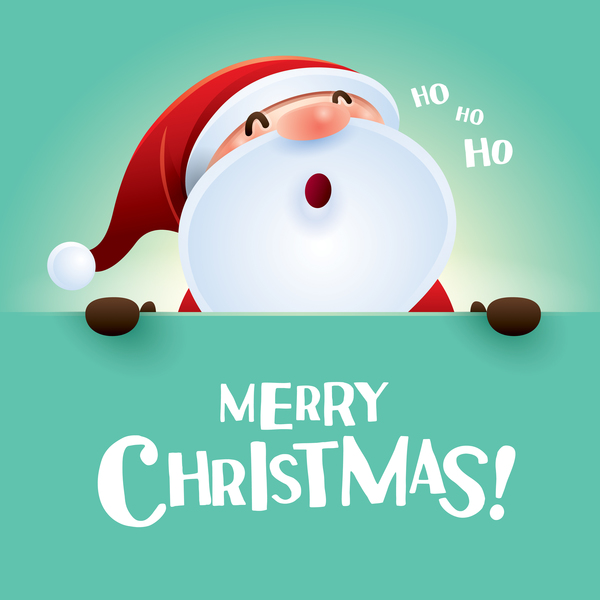 Merry Christmas Postercard With Santa