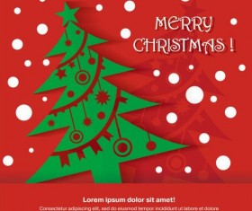 Merry christmas red greeting card vector