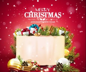 Merry christmas with new year paper card and red background
