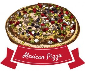 Mexican pizza vintage label vector