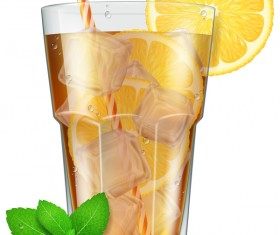 Mint tea and Ice cubes vector