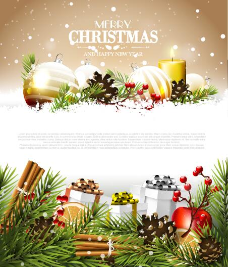 Modern Christmas Poster Template With Decor Baubles Vector