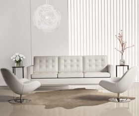Modern living room sofa decoration flower Stock Photo