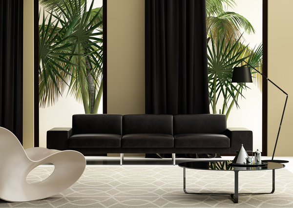 Modern living room with black sofa outside the window for Modern living room plants