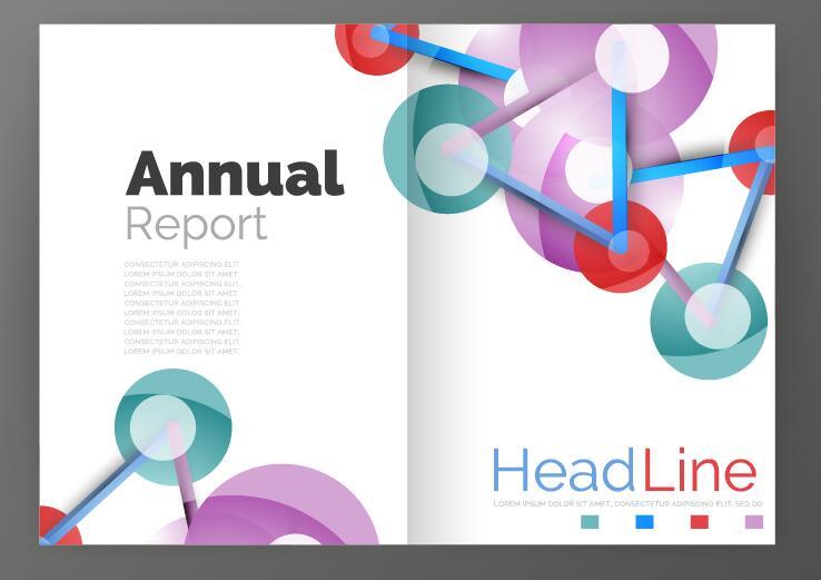 Molecule annual report brochure cover template vector 01 Vector